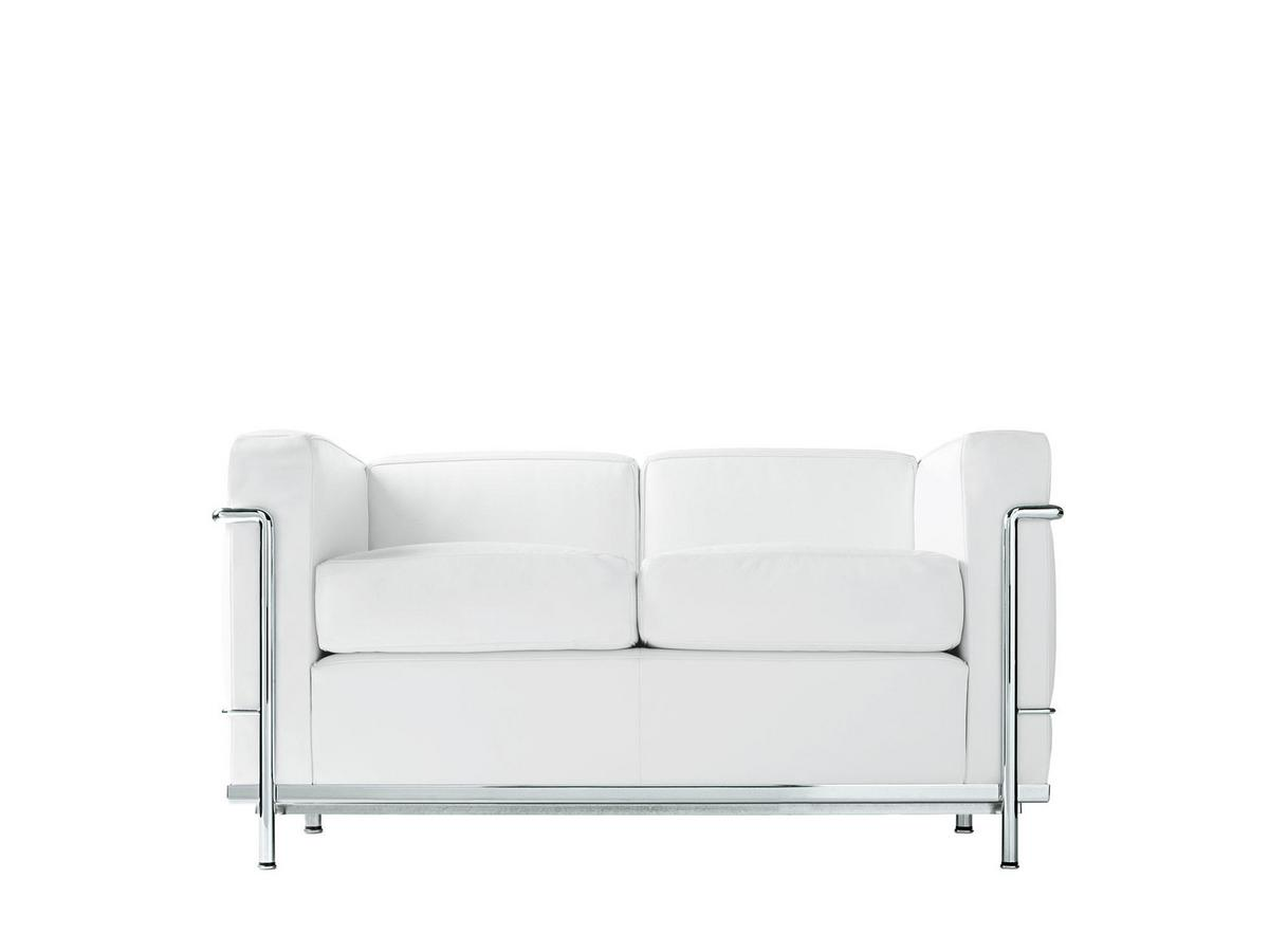 Lounge Sofa 2 Sitzer Outdoor Cassina Lc2 Sofa, Two-seater, Chrome-plated, Leather Scozia, White By Le Corbusier, Pierre Jeanneret, Charlotte Perriand, 1928 - Designer Furniture By Smow.com