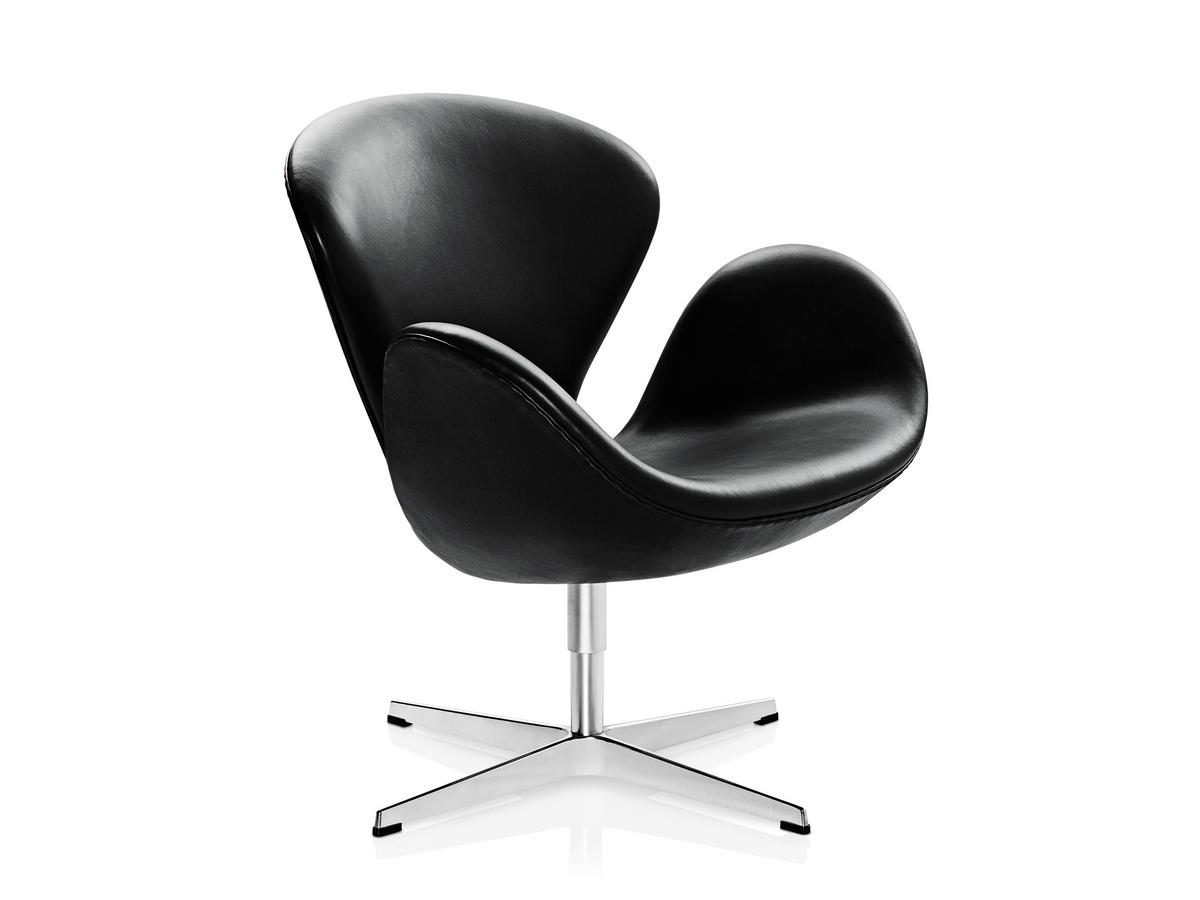 Fritz Hansen Swan Chair 40 Cm Leather Grace Black By Arne Jacobsen 1958 Designer Furniture By Smow Com