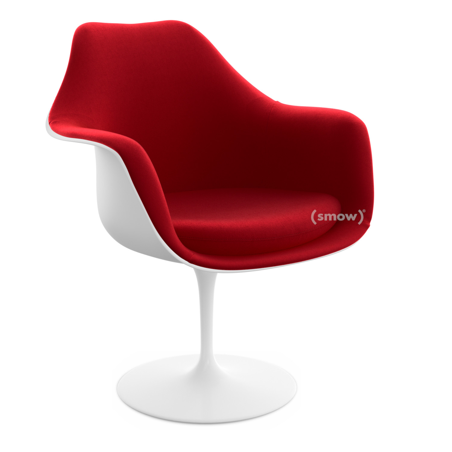 Knoll International Saarinen Tulip Armchair Swivel Upholstered Inner Shell And Seat Cushion White Bright Red Tonus 130 By Eero Saarinen 1955 1957 Designer Furniture By Smow Com