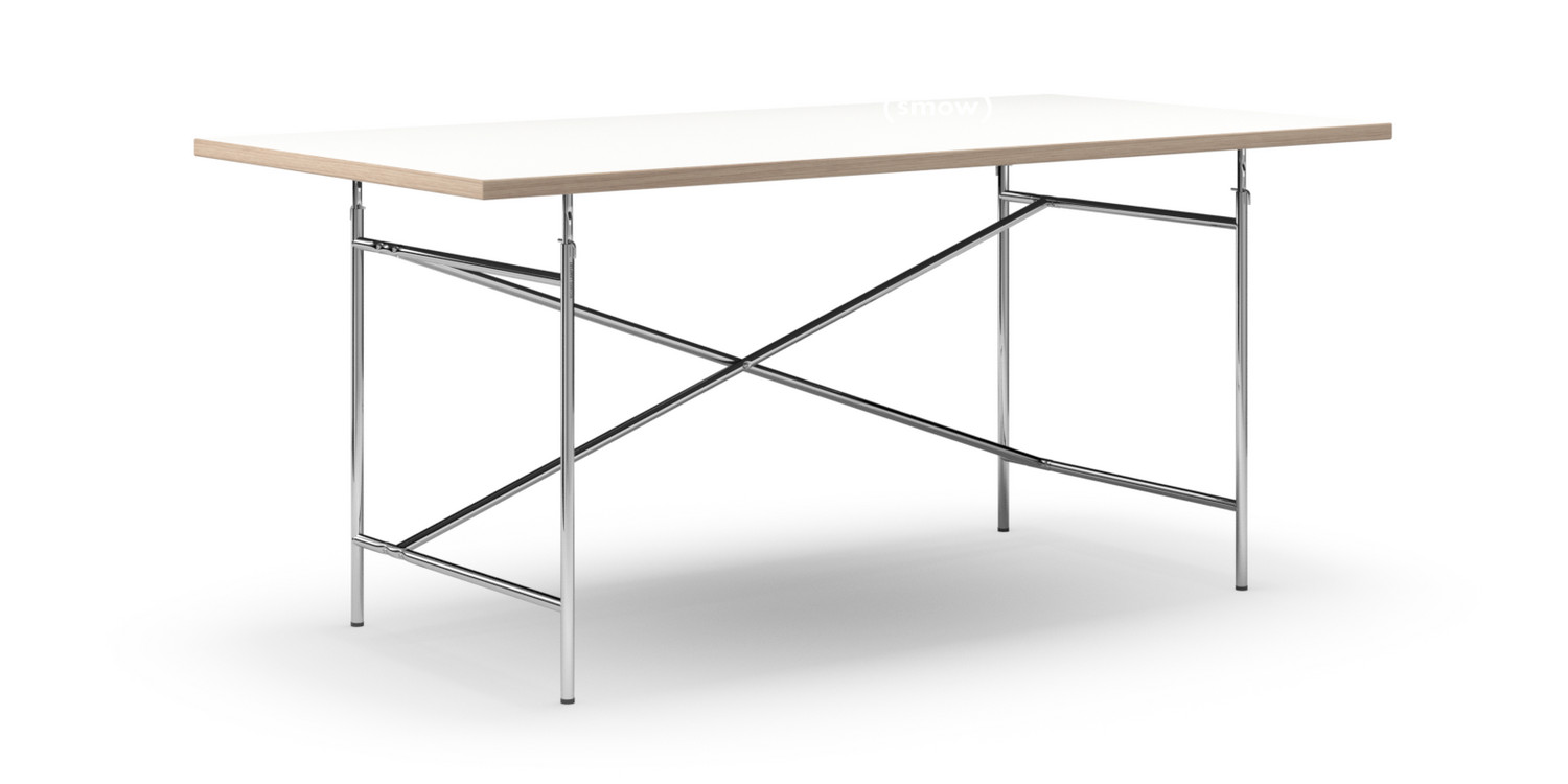 Richard Lampert Eiermann Table White Melamine With Oak Edge 180 X 90 Cm Chrome Vertical Offset Eiermann 2 135 X 66 Cm By Egon Eiermann Designer Furniture By Smow Com