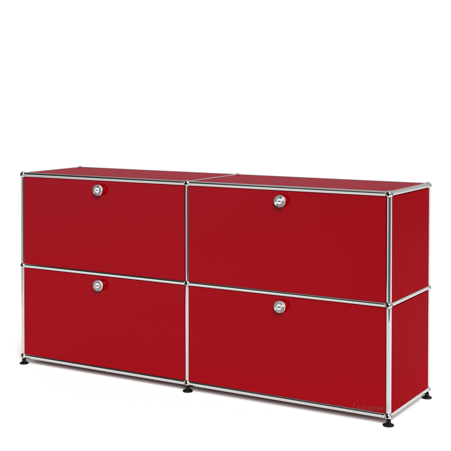 Usm Haller Sideboard L Customisable Usm Ruby Red With 2 Drop Down Doors With 2 Drop Down Doors By Fritz Haller Paul Schärer Designer Furniture By Smow Com