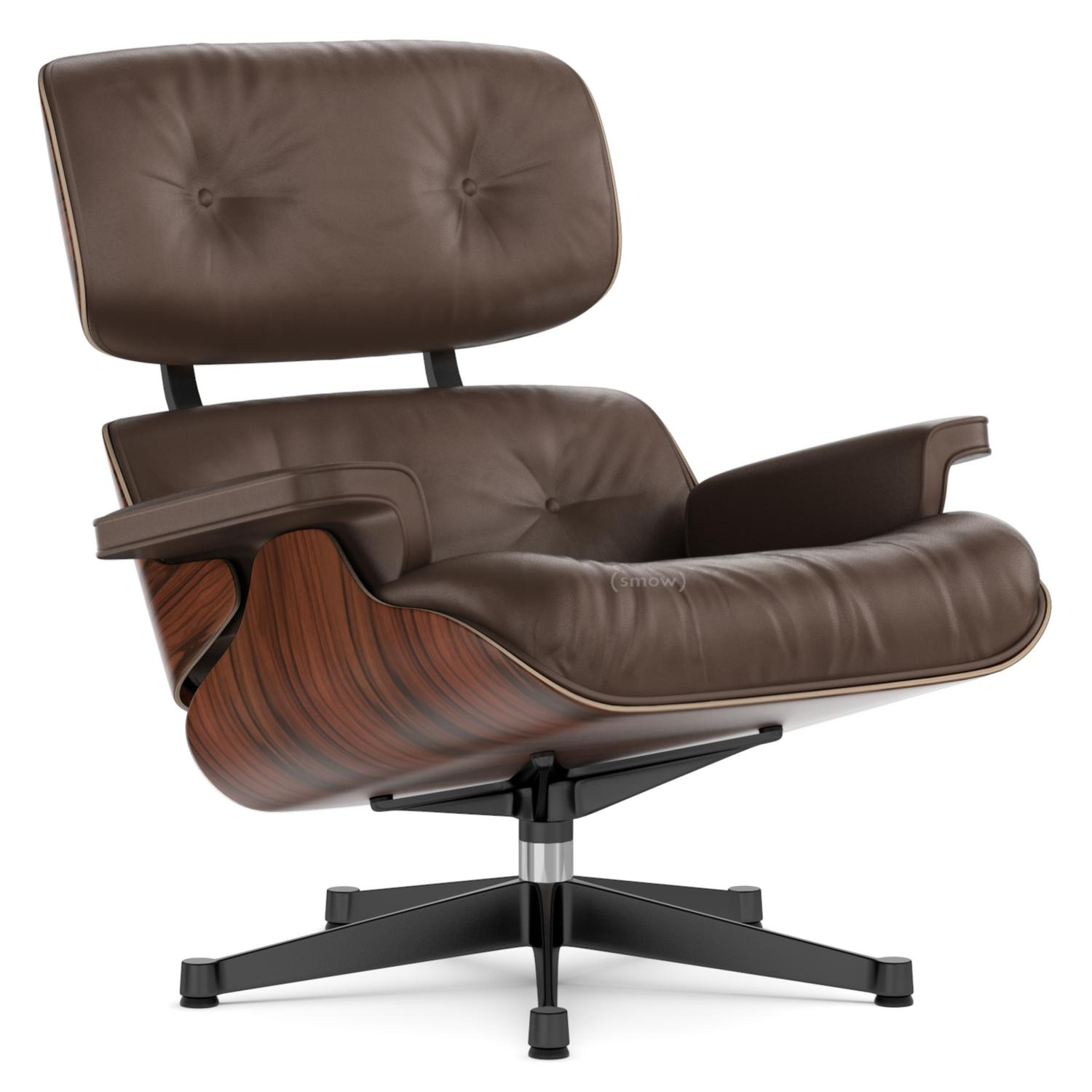Charles Eames Stuhl Original Vitra Lounge Chair Santos Palisander Brown 84 Cm Original Height 1956 Aluminium Polished Sides Black