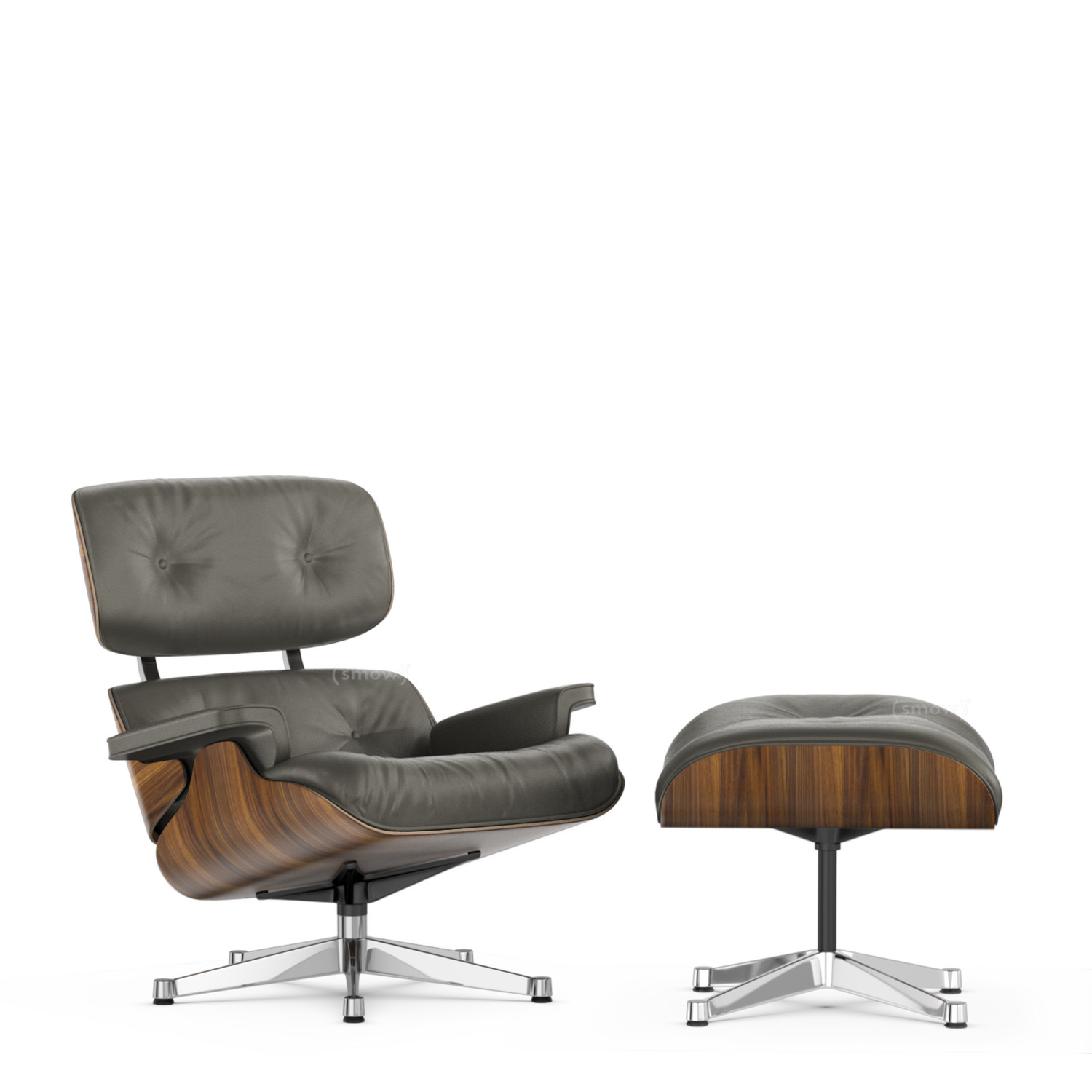 Eames Lounge Sessel Vitra Lounge Chair Ottoman Beauty Versions Walnut With Black Pigmentation Umbra Grey 89 Cm Aluminium Chrome Plated