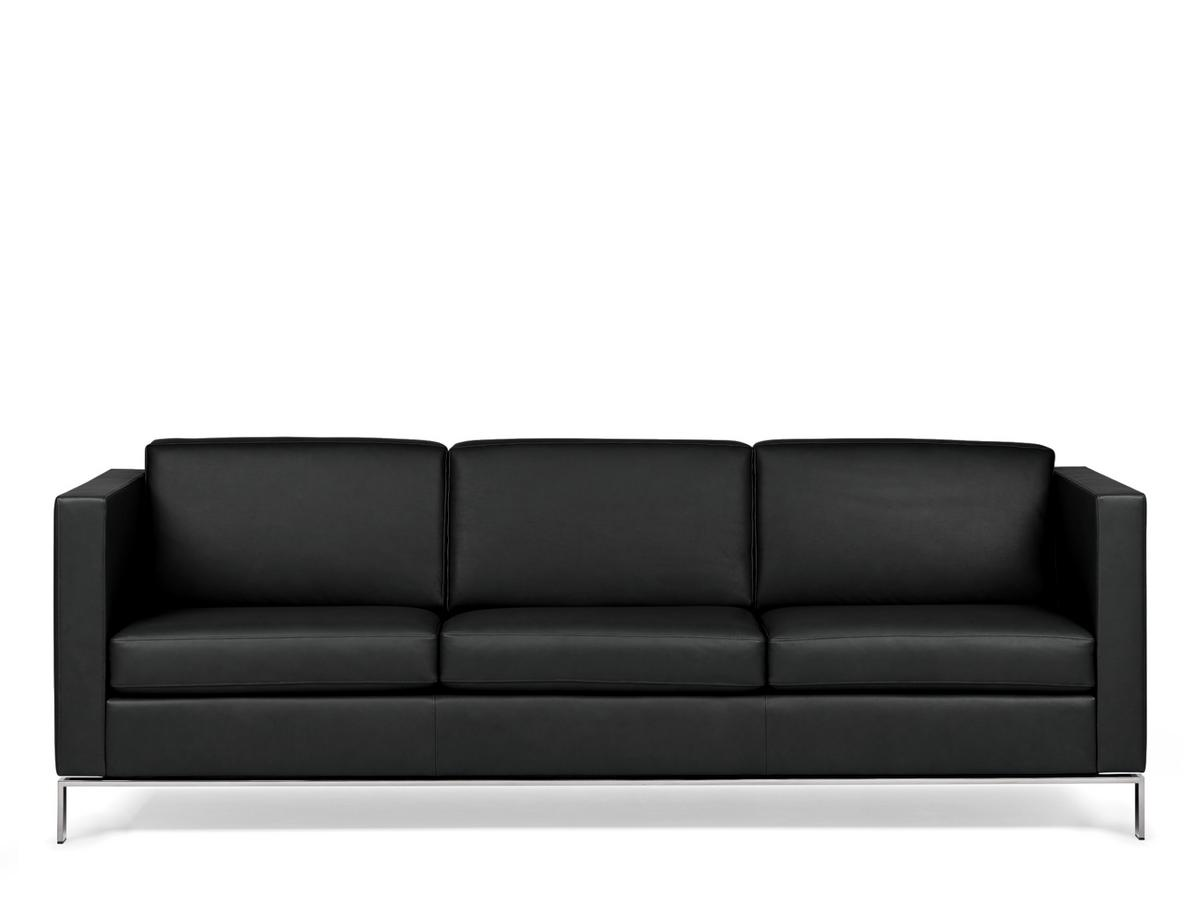 3er Sofa Walter Knoll Foster Sofa 500 3 Seater W 215 Leather Select Black Black Chrome Steel