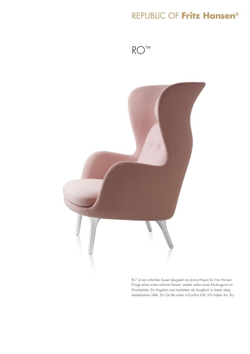 Sessel Ro Fritz Hansen Ro, Light Pink, With Footstool By Jaime Hayon, 2013 - Designer Furniture By Smow.com