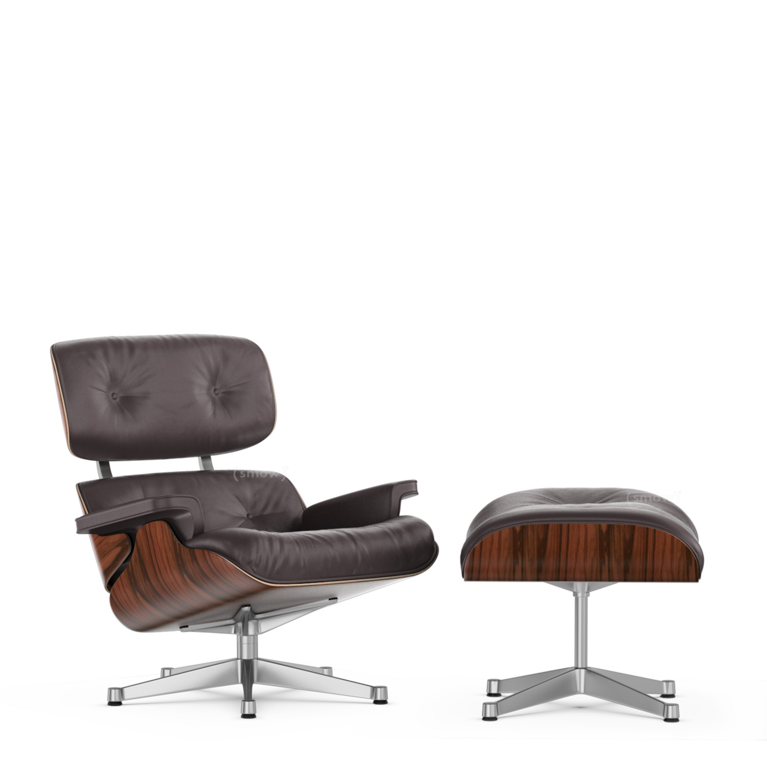 Eames Lounge Chair Zubehör Vitra Lounge Chair Ottoman Beauty Versions Santos Palisander Pflaume 89 Cm Aluminium Poliert