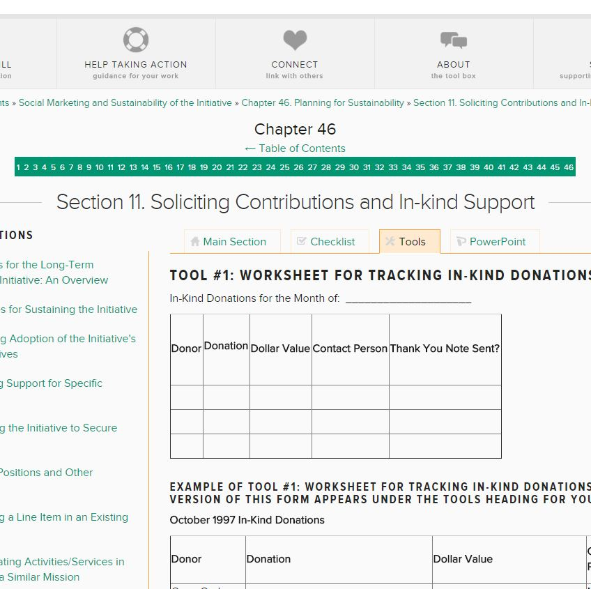 Worksheet for Tracking In-kind Donations and In-kind Donor Prospect