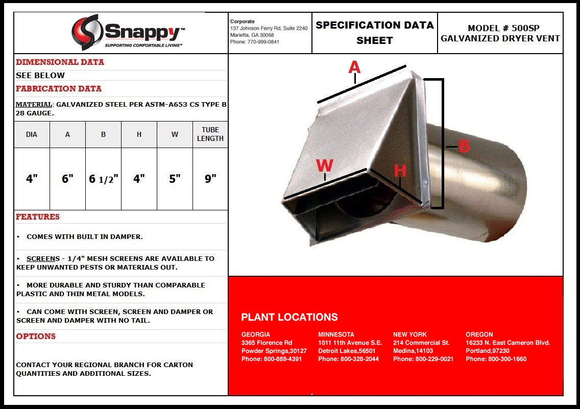 Dryer Vent Insulation Product Specs Snappy Co