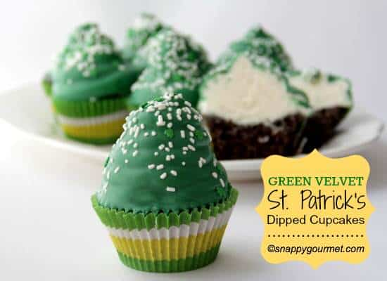 Green Velvet St. Patrick's Day Dipped Cupcakes | Snappy Gourmet