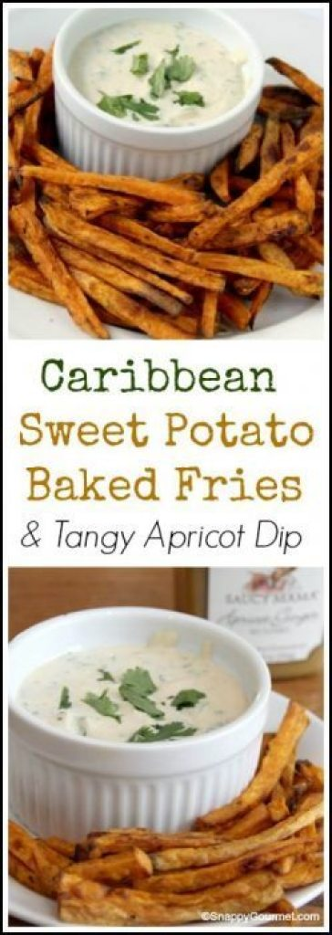 Caribbean Sweet Potato Baked Fries and Tangy Apricot Dip recipe - easy homemade fries with a quick dip. SnappyGourmet.com
