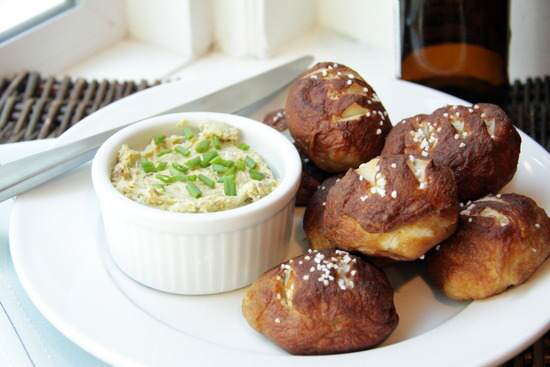 Mini Pretzel Rolls with Bacon Cheddar Butter Spread Recipe | SnappyGourmet.com