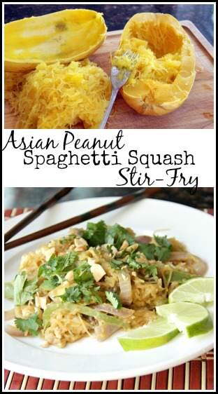 Asian Peanut Spaghetti Squash Stir Fry Recipe | snappygourmet.com