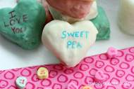 Dipped Conversation Hearts Krispies Treats