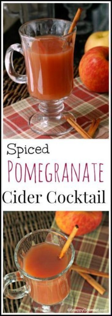 Spiced Pomegranate Cider Cocktail - easy fall drink recipe | SnappyGourmet.com