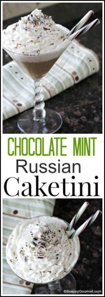 Chocolate Mint Russian Caketini - easy twist for a fun homemade dessert cocktail recipe! SnappyGourmet.com