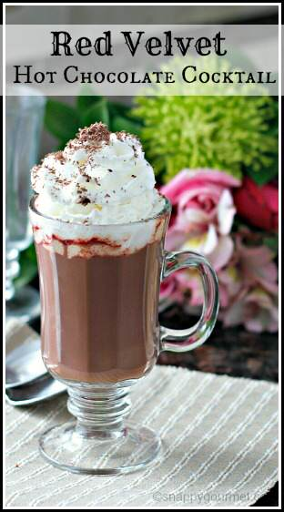Red Velvet Hot Chocolate Cocktail (or Mocktail) recipe | snappygourmet.com