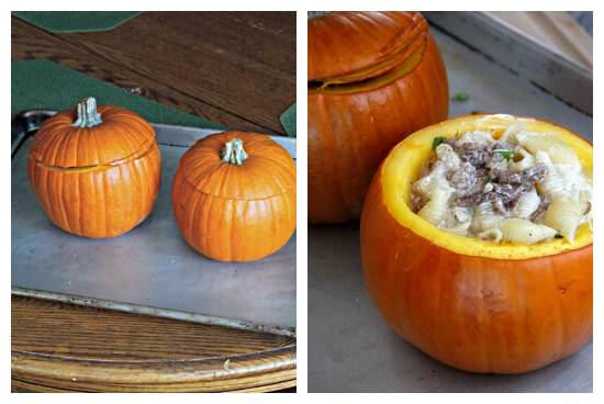 Pumpkin Stuffed with Fontina, Italian Sausage, and Macaroni Recipe | snappygourmet.com
