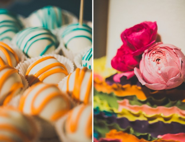 mexican-fiesta-wedding-cake-balls-and-floral-on-cake