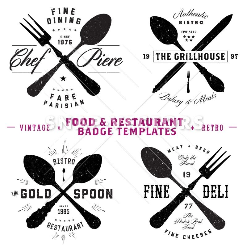 Vector Restaurant and Food Logo and Badge Templates - Snap Vectors - hipster logo template