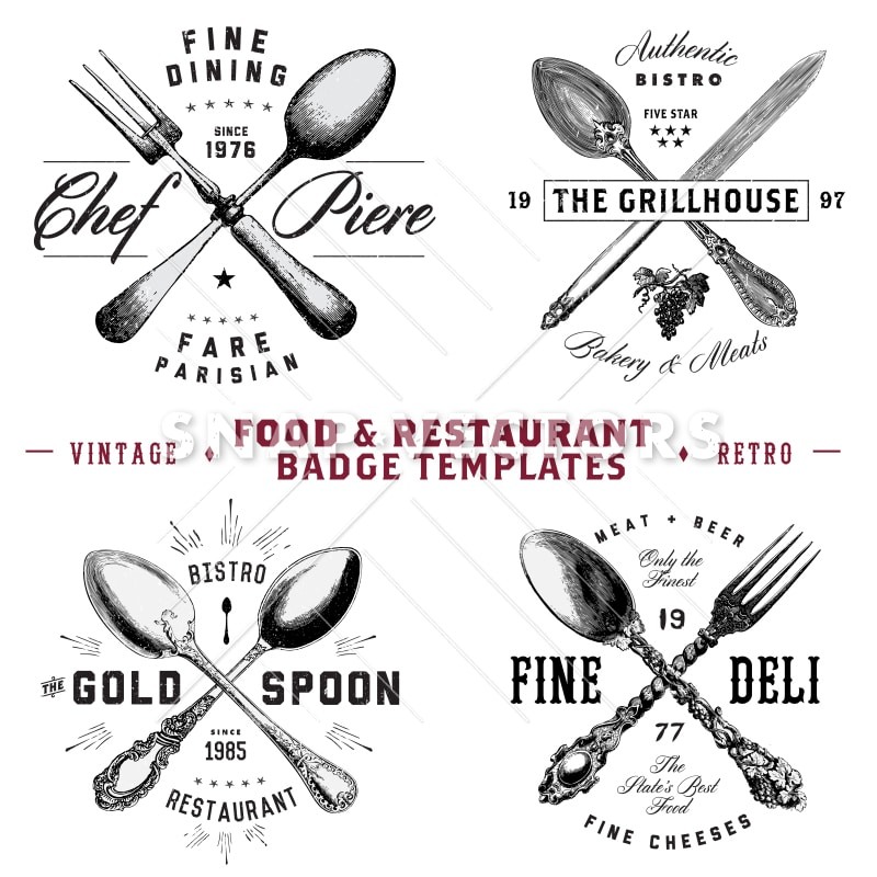Vector Food and Restaurant Badges and Hipster Logo Template Set - hipster logo template