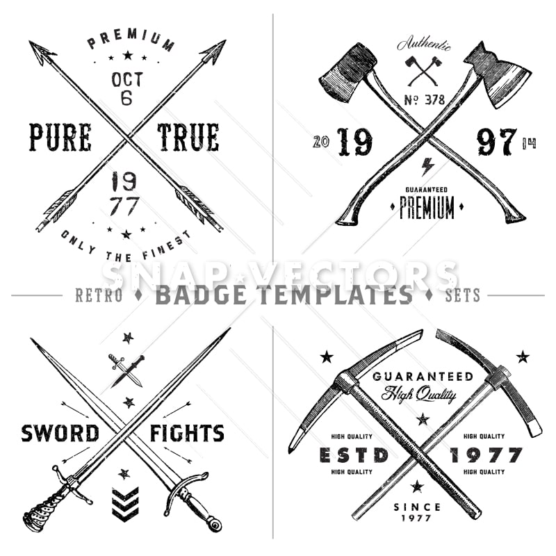 Vector Retro X Badge and Vintage Hipster Logo Template Set - Snap - hipster logo template