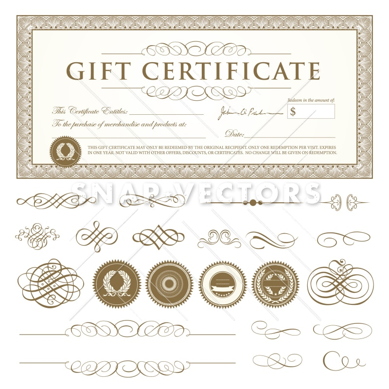 Vector Gift Certificate Template Set - Snap Vectors
