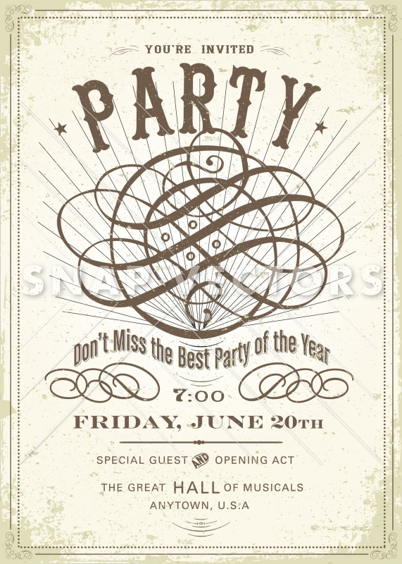 Vector Vintage Party Invitation and Poster Template - Snap Vectors
