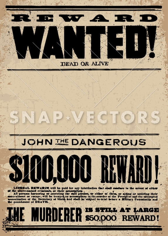 Vector Western Wanted Poster Template - Snap Vectors