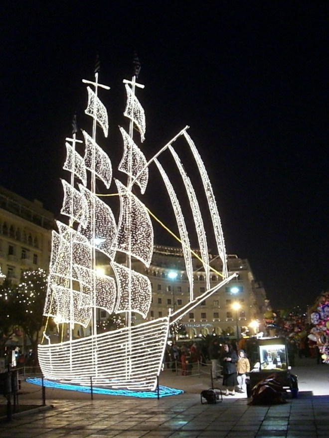 Christmas decorations in Thessaloniki, Greece.