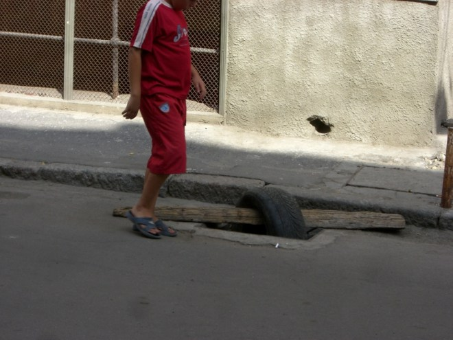 Road repair in Odessa, Ukraine.