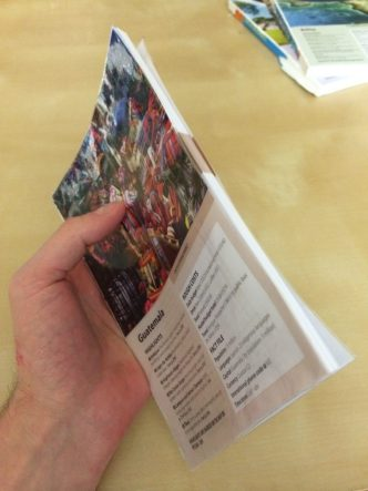 Finished taped guidebook pamphlet