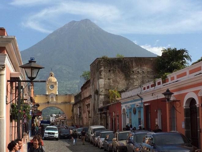 Antigua Streets and Volcano