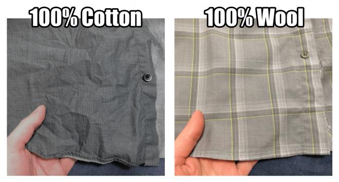 Cotton vs wool closeup