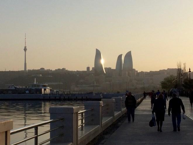 Baku Boulevard and Flame Towers