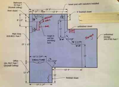 basement remodel floor plan with exposed ductwork