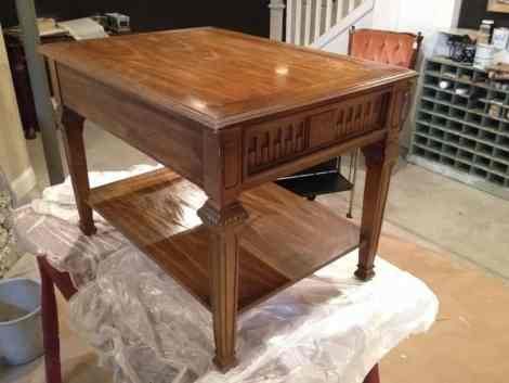 maple table before chalk paint and decoupage
