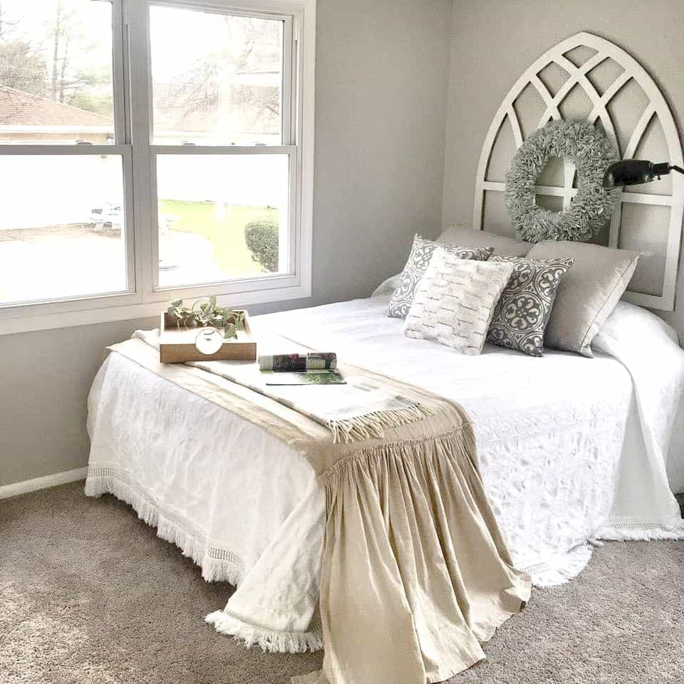 Headboards In Front Of Windows Diy Gothic Cathedral Window Frame Fixer Upper Inspired