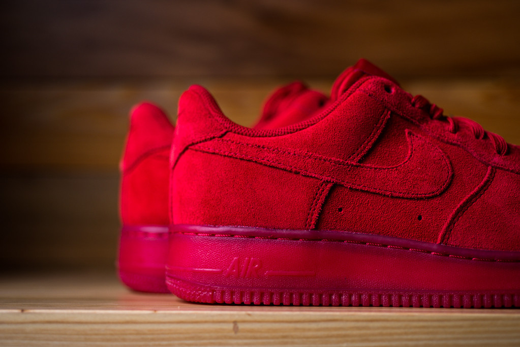 Nike Air Force 1 Low Red Suede Sneaker Bar Detroit