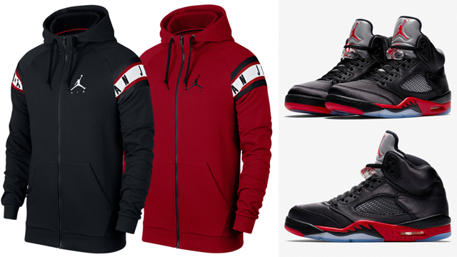 Nike Pullover Red Air Jordan 5 Bred Satin Hoodies Sneakerfits