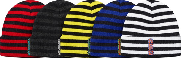 Vertical Logo Striped Beanie