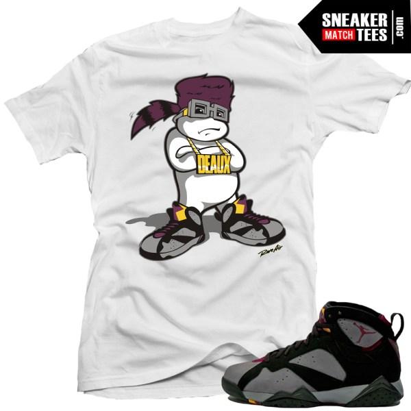 Jordan 7 bordeaux shirts to match d boy white sneaker for Kicks on fire t shirt