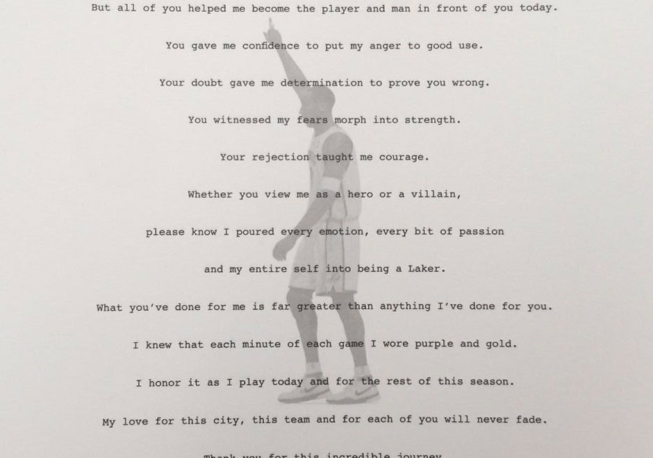 Kobe Bryant\u0027s Retirement Letter To Laker Fan Hits eBay - SneakerNews - retirement letter