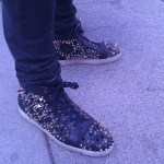 Louis Vuitton spiked mid tops outside Swingers in Santa Monica