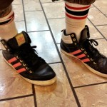 Adidas mid tops pink and black at the Beverly Center in Los Angeles