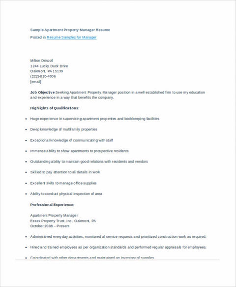 Property Manager Resume Sample and Tips - what should be included in resume