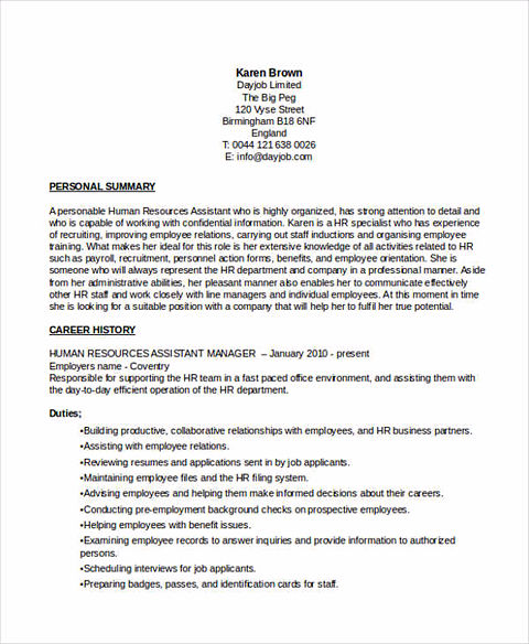 assistant manager resumes