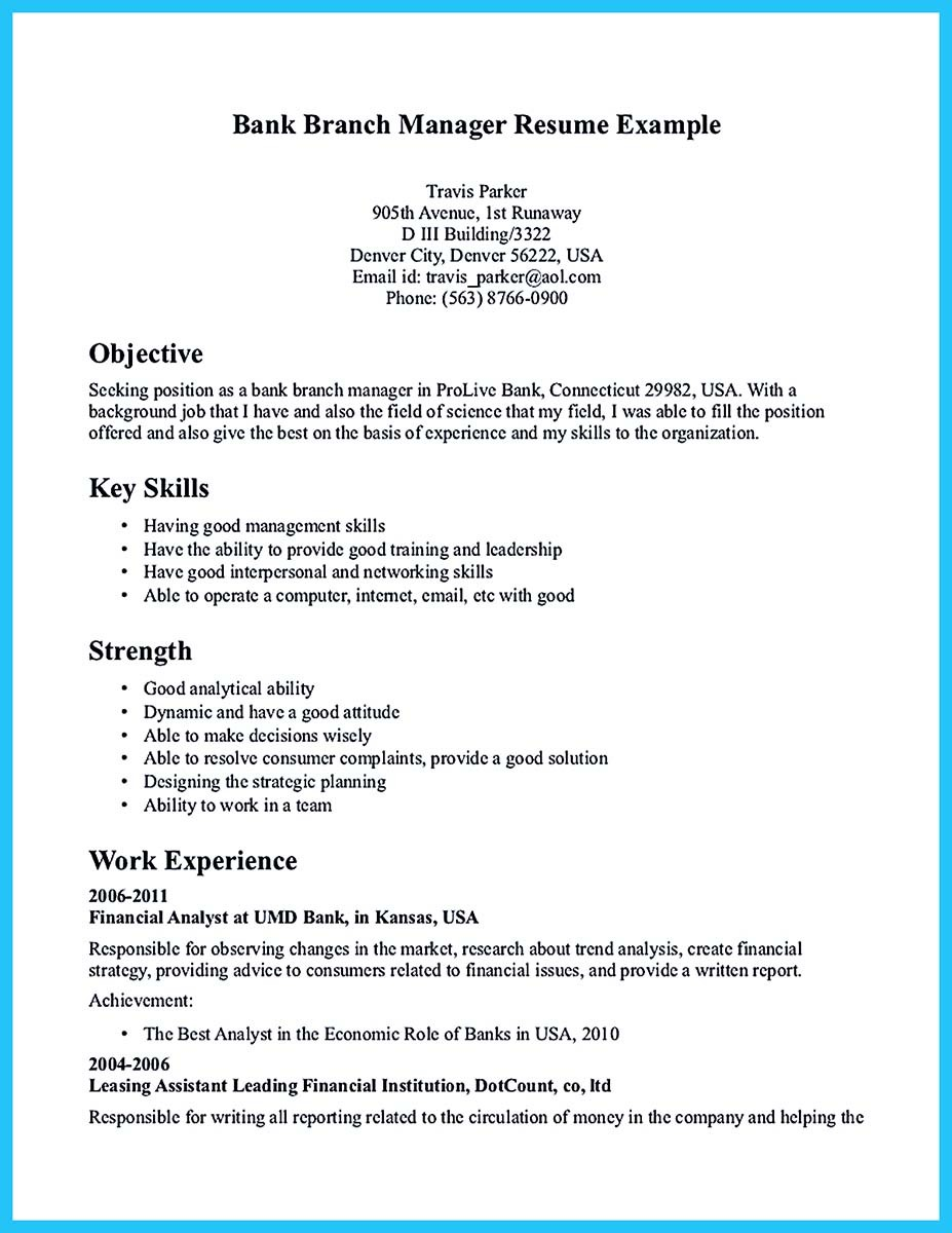 branch manager resume objective examples