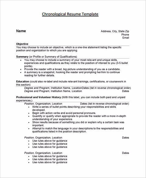 the order of good chronological resume sample chronological resume