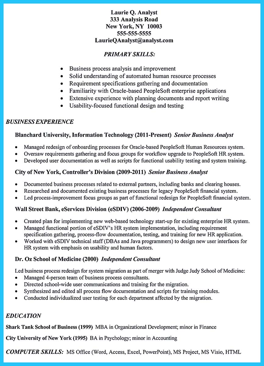 sample resume for business analyst