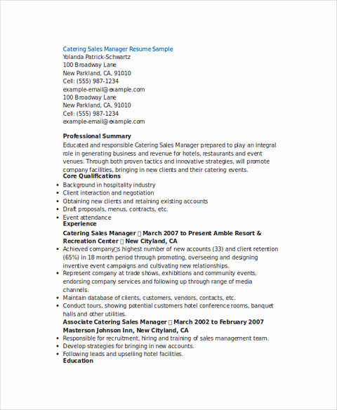 Catering Sales Manager Resume  Catering Resume